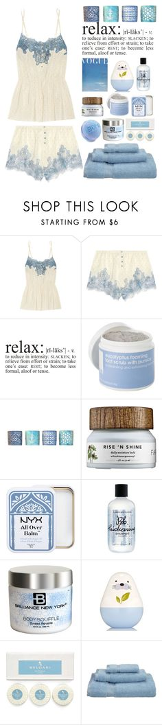 """Relax"" by juliehalloran ❤ liked on Polyvore featuring Rosamosario, Lather, Drew DeRose, NYX, Bumble and bumble, Brilliance New York and Bulgari"