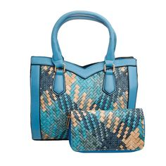 Blue Woven Leather Handbag Set Tote Handbags, Leather Handbags, Vegan Leather, Diaper Bag, Print Design, Shoulder Strap, Fashion Jewelry, Wallet, Blue