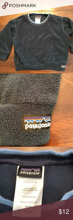Patagonia Baby Size 18 Month Sweatshirt- blue Super cute and warm. No holes, rips, or stains. 100% Polyester. Patagonia Shirts & Tops Sweatshirts & Hoodies