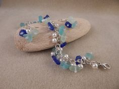 Reserve for Sara  Bridal Sea Glass Bracelet and by vroberts1017