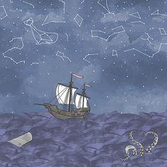 Hawthorne Threads - Mariner - Sailors Delight Border in Indigo  #HTDreamNurseryContest