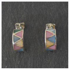 14,00 Euros - Pendientes de Plata de ley 925 y nácar o madreperla multicolor Convenience Store, Sterling Silver Earrings, Convinience Store
