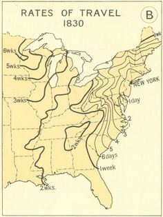 Travel times across North America from New York in 1830.