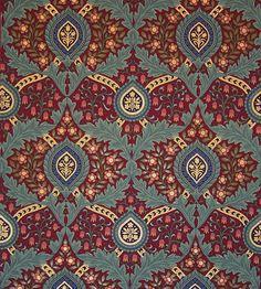 A beautiful Victorian patterned wallpaper, Knightsbridge Damask in Burgundy on gorgeous slate blue