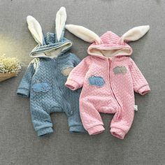 Cute Bunny Ears hooded Baby Rompers Spring And Winter Boy Clothes For Newborn Girls Jumpsuit Baby Clothes Newborn Kids Clothes #Affiliate