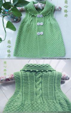Kids # sundress # on # buttons # knitting. Crochet Motif Patterns, Baby Knitting Patterns, Dress Patterns, Baby Sweaters, Girls Sweaters, Crochet Baby, Knit Crochet, Knit Baby Dress, Girls Tunics