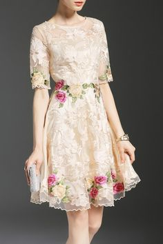 Shop fankire apricot gauze spliced embroidered a-line dress here, find your knee length dresses at dezzal, huge selection and best quality. Elegant Dresses, Pretty Dresses, Beautiful Dresses, Grad Dresses, Short Dresses, Formal Dresses, Modern Filipiniana Dress, Dress Brokat, Knee Length Dresses