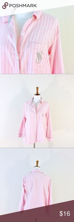 Victoria's Secret Pink and Silver Striped Pajamas Pink and White Stripes with silver accents! Some visible wear on the embroidered logo but overall excellent condition! Size large. 53% cotton, 45% modal, 2% other material Victoria's Secret Intimates & Sleepwear Pajamas