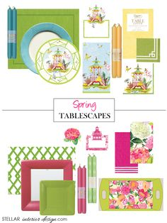 Tablescape Ideas, Table decorations, Spring Home Decor, Spring Home Ideas, e-decorating services, Decorating Ideas for the home, Get the Look here: www.stellarinteriordesign.com/paper-plates-and-napkins/