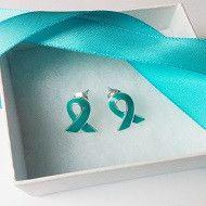Teal Ribbon Food Allergy Awareness Earrings