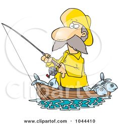 Royalty-Free (RF) Clip Art Illustration of a Cartoon Fisherman Standing In His Boat by Ron Leishman