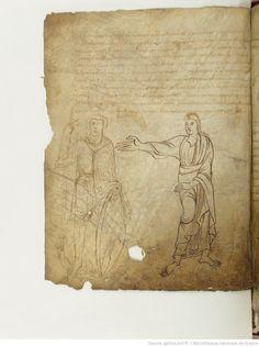 BnF ms. lat. 8318, Recueil factice composé de 4 manuscrits ou fragments de manuscrits différents: I. Arator Subdiaconus, Historia apostolica (f. 3-48). — II. Aurelius Clementis Prudentius, Psychomachia (f. 49-64). — III. Venantius Fortunatus, Carmina (f. 65-71). — IV. Aldhelmus, Carmina ecclesiastica (f. 73-80). -- 800-900, fol. 57v