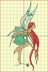 Bordatelotodo Free Embroidery Design: Red-Haired Fairy 7.75 inches H x 3.70 inches W