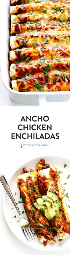 LOVE this Ancho Chicken Enchiladas recipe!  It's easy to make, full of big flavors, made with a delicious chicken bean cheese and chile filling, and so delicious!  Perfect for Cinco de Mayo, or anytime you have a Mexican food craving. :) | gimmesomeoven.com