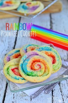 These gorgeous Rainbow Pinwheel Cookies are super easy to make and are so much fun! | MomOnTimeout.com