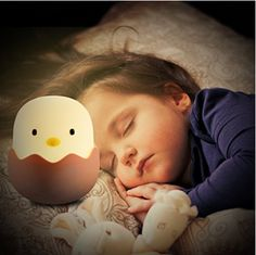 Kids Night Light,Baby Night Light,APUPPY Cute Creative Egg Shell Night Light, Rechargeable Egg Shell Chick Shape Top Control Lamp for Girl Lady Kid Baby Bedroom and Nursery