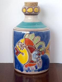 Desimone MID CENTURY Vintage Tall MODERN Vase Sea Creatures FISH Crab Italy 1965