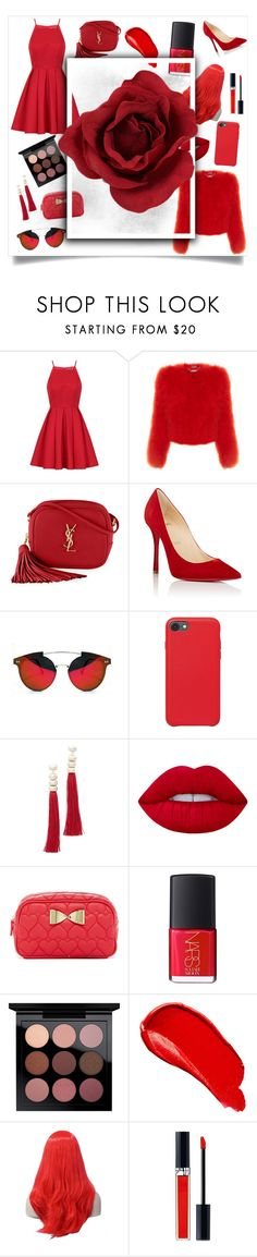 """""""Red❤"""" by vm2513 ❤ liked on Polyvore featuring Chi Chi, Alexander McQueen, Yves Saint Laurent, Christian Louboutin, Spitfire, Rosantica, Lime Crime, Betsey Johnson, NARS Cosmetics and Burberry"""