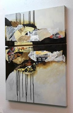 """""""Billboard 8"""", 32x24 mixed media collage by Carol Nelson          progress photo     This mixed media collage is a diptych of two canvases..."""