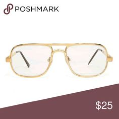 American Apparel Deadstock Vintage Gold Glasses No offers. 👓 Hefty Square eyeglasses framed with gold metal featuring a double bridge construction fitted with comfortable nose pads. Get them custom filled in your own prescription!   Unisex.   This is deadstock vintage meaning it was manufactured between the 1960s and 1990s and until now has never seen the sales floor. American Apparel Accessories Glasses