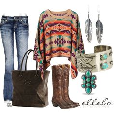 Not entirely loving the sweater just yet but the look is great, I love Southwestern/Native American but it just looks sort of cheap or garish. Different sweater and I would wear it.