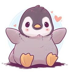 Little fluffy penguin wants to hug you cute kawaii animals, cute cartoon animals, cute Cute Kawaii Animals, Cute Cartoon Animals, Anime Animals, Cute Baby Animals, Cute Animals To Draw, Cute Penguin Cartoon, Kawaii Chibi, Cute Chibi, Kawaii Art