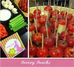 Woodland Baby Shower theme snacks - tomato toadstools and rabbit food.