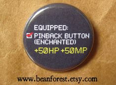 equipped enchanted button video game pins gamer by beanforest