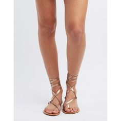Charlotte Russe Lace-Up Toe Loop Sandals ($13) ❤ liked on Polyvore featuring shoes, sandals, rose gold metallic, toe loop sandals, strap sandals, vegan shoes, wrap sandals and criss-cross sandals