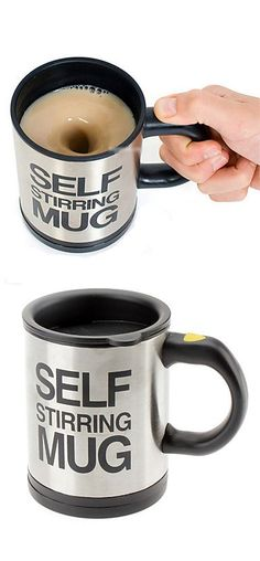 Self Stirring Mug. It's brilliant! No, we don't know why, but watching it swizz your morning brew into a hot swirling vortex at the touch of a button is guaranteed to cheer you up. Better yet, make an instant soup and watch in glee as your dehydrated croutons run laps around the rim. Ah, it's the little things in life...   So how does it work? Well, a tiny battery-powered impeller at the bottom of the cup spins rapidly to swirl the liquid around the bottom of the cup.