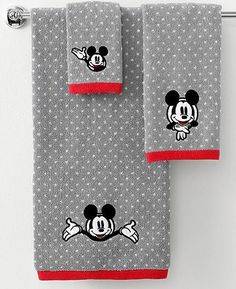 Disney Bath Towels, Disney Mickey Mouse 16 x 28 Hand Towel - Bathroom Accessories - Bed Bath - Macy's Mickey Mouse Bathroom, Mickey Mouse House, Mickey Minnie Mouse, Casa Disney, Disney Rooms, Disney Dream, Hand Towels Bathroom, Bath Towels, Disneyland