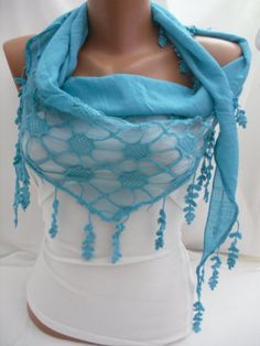 Women  turquoise Blue Scarf - Headband - Cowl with Lace Edge  $19,00