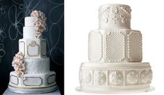 Downton Abbey wedding cake designs by The Caketress left and Mark Joseph Cakes NY right