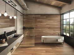 Pour une salle de bains chaleureuse at authentique, mettez une petite touche de bois ! Les revêtements de sol en grés cérame ont la côte et imitent parfaitement le bois avec un choix de nuances très varié. Besoin d'inspirations ?  Un projet d'aménagement ou de rénovation ? Contactez-nous!  #bois #wood #grescerame #salledebains #bains #bathroom #deco #design #interieur #maison #decoration #scandinave #nature #carrelage Wooden Wall Design, Wooden Walls, Outdoor Flooring, Outdoor Walls, Contemporary Bathrooms, Contemporary Design, Wall And Floor Tiles, Beautiful Bathrooms, 9 Mm