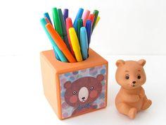 Mister Bear Pencil Holder  Painted Orange Tangerine by WalterSilva, $28.00