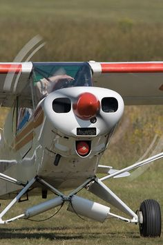 Head on view of the Piper PA-18 Super Cub G-OROD taxiing at Popham airfield