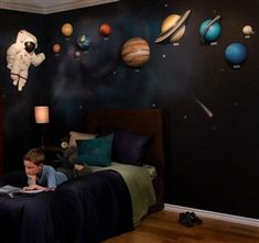 Fun Kid's Space Themed Bedroom Design Ideas. Find and save ideas about Space theme bedroom in this article. Star Bedroom, Kids Bedroom, Childrens Bedroom, Bedroom Themes, Bedroom Decor, Bedroom Ideas, Bedroom Pics, Solar System Room, Outer Space Bedroom