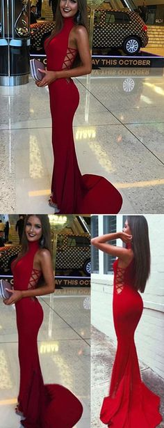 2017 prom ,red mermaid prom dresses, sexy long prom dresses, blackless prom dresses,prom ideas