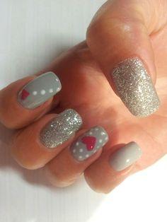 Glittery grey nails