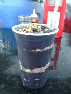 A big cup of Açaí do Amazonas. Delicious! II ate it in Manaus.