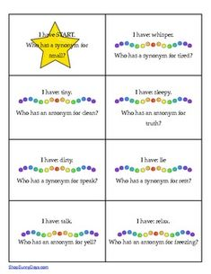 FREE from Sunny Days: 'I Have, Who Fun, fast paced group activity-students must listen carefully to classmates in order to participate. Synonyms/Antonyms