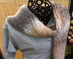 Khaki Hand Knitted Cozy Scarf by GypsySoulsKnitting on Etsy, $35.00