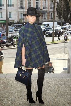 #Model #Off #Duty - Miroslava Duma. This is one of the easy looks you can pull off. To keep a topper sexy and interesting, take a cue from fashion plate and socialite, Miroslava Duma, by pairing it with a tartan cape and over the classic thigh-high boots. Just make sure the jacket, cape, or coat isn't too short nor too long. Not keen on the boots? Then simply wear thigh-high socks with your booties.