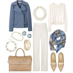 """""""Wedgwood"""" by rothmank on Polyvore. LOVE the blue and camel/natural, Season spanning and lovely for work"""