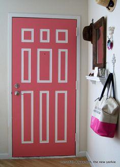 Perfecting pink with Benjamin Moore's Potpourri 1312 hook, interior doors, entryway