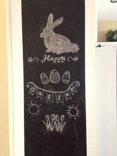 Easter Chalkboard art. Next year the words will have to be bigger!