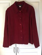 Women's L Blazer Briggs New York Dark Red Long Sleeve Button Up , Soft Material