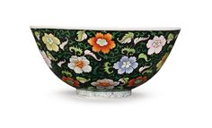 A Black-Ground Famille-Rose Bowl, Yongzheng Mark and Period (1723-1735).