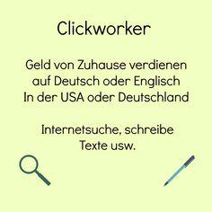 Mache von Zuhause bequem ein bisschen extra Geld mit Clickworker. Internetsuche, Texte schreiben .... Keine Investition, du brauchst nur einen PC und eine Internetverbindung. #geld