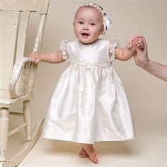 Baby Girl Silk Christening Dress - Leila Christening/Baptism Collection - Designer Gowns & Dresss